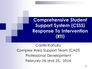 Comprehensive Student Support System (CSSS) Response To Intervention (RTI)