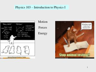 Physics 103 – Introduction to Physics I