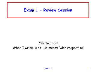 Exam 1 – Review Session