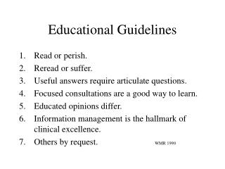 Educational Guidelines