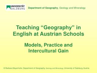 "Teaching ""Geography"" in English at Austrian Schools"