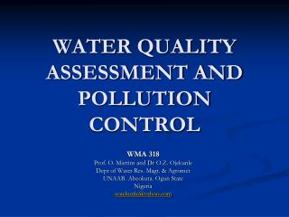 WATER QUALITY ASSESSMENT AND POLLUTION CONTROL