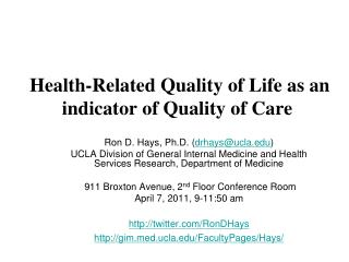 Health-Related Quality of Life as an indicator of Quality of Care