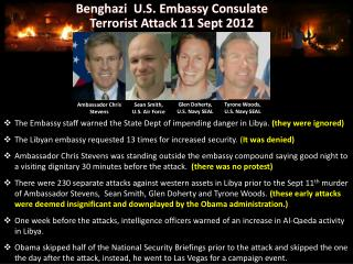 The Embassy staff warned the State Dept of impending danger in Libya.  (they were ignored)