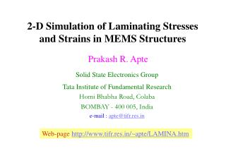 2-D Simulation of Laminating Stresses and Strains in MEMS Structures