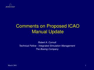 Comments on Proposed ICAO Manual Update