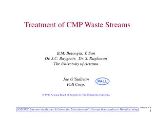 Treatment of CMP Waste Streams