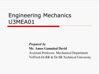 Engineering Mechanics U3MEA01