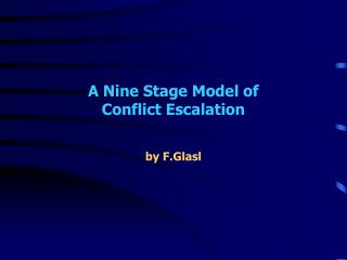 A Nine Stage Model of  Conflict Escalation
