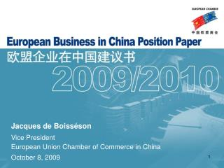 Jacques de Boisséson Vice President European Union Chamber of Commerce in China October 8, 2009