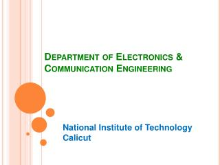 Department of Electronics & Communication Engineering
