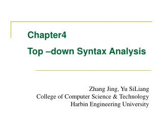Chapter4 Top –down Syntax Analysis