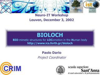 Neuro-IT Workshop Leuven, December 3, 2002