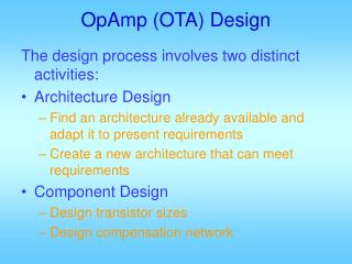 OpAmp (OTA) Design
