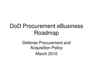 DoD Procurement eBusiness Roadmap