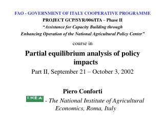 FAO - GOVERNMENT OF ITALY COOPERATIVE PROGRAMME PROJECT GCP/SYR/006/ITA – Phase II