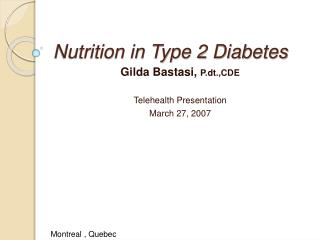 Nutrition in Type 2 Diabetes
