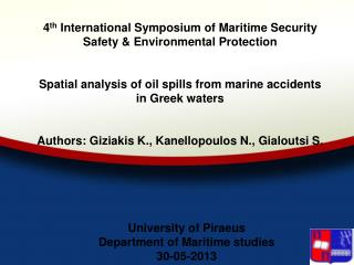 University of Piraeus Department of Maritime studies 30-05-2013