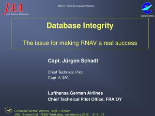 Database Integrity The issue for making RNAV a real success