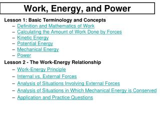Work, Energy, and Power