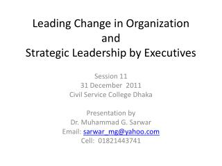 Leading Change in Organization and Strategic Leadership by Executives