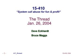 The Thread Jan. 26, 2004