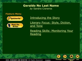 Geraldo No Last Name by  Sandra Cisneros