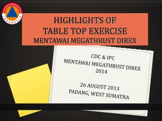 HIGHLIGHTS OF TABLE TOP EXERCISE MENTAWAI MEGATHRUST DIREX