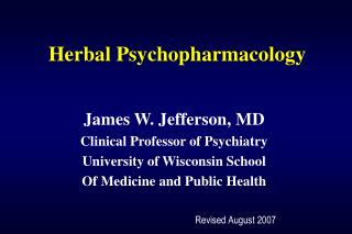Herbal Psychopharmacology