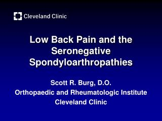 Low Back Pain and the Seronegative Spondyloarthropathies