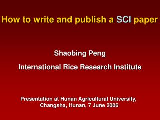 How to write and publish a  SCI  paper