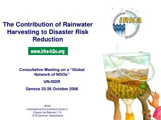 The Contribution of Rainwater Harvesting to Disaster Risk Reduction