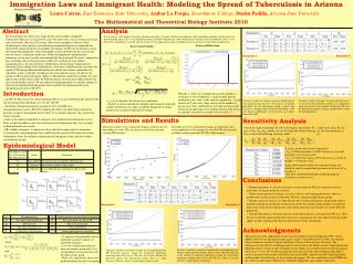 Immigration Laws and Immigrant Health: Modeling the Spread of T u berculosis in Arizona