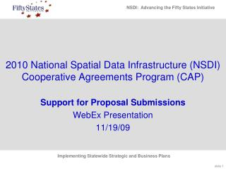 2010  National Spatial Data Infrastructure (NSDI) Cooperative Agreements Program (CAP)