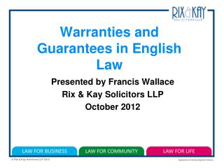 Warranties and Guarantees in English Law