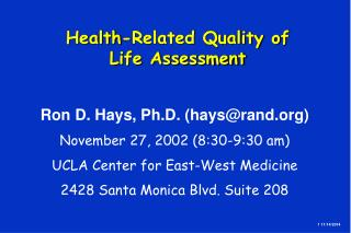 Health-Related Quality of  Life Assessment