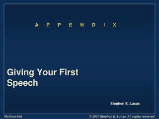 Giving Your First Speech