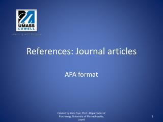References: Journal articles