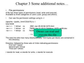 Chapter 3 Some additional notes…