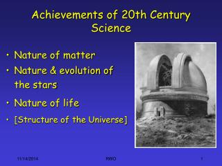 Achievements of 20th Century Science