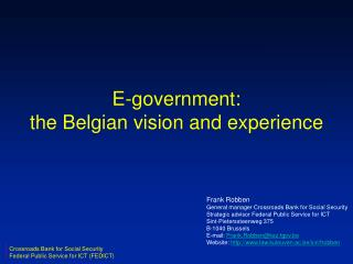 E-government: the Belgian vision and experience