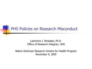 PHS Policies on Research Misconduct