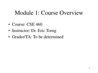 Module 1: Course Overview