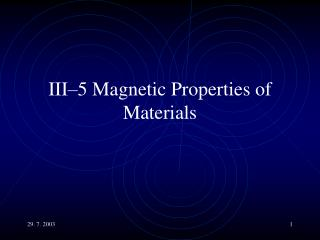 III–5 Magnetic Properties of Materials