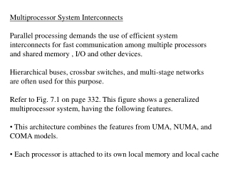 Multiprocessor System Interconnects