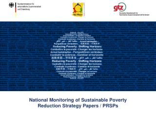 National Monitoring of  Sustainable  Poverty Reduction Strategy Papers / PRSPs