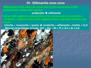 IV- Sillimanite zone zone