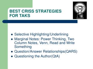 BEST CRISS STRATEGIES FOR TAKS