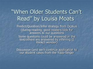 """When Older Students Can't Read"" by Louisa Moats"