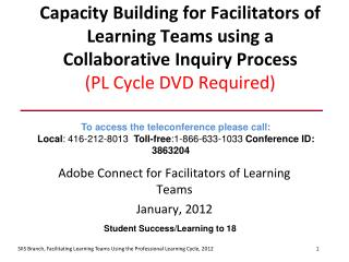 Capacity Building for Facilitators of Learning Teams using a Collaborative Inquiry Process (PL Cycle DVD Required)